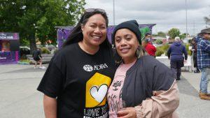 Sally Lavea and Swanie Nelson outside the Otara Kai Village